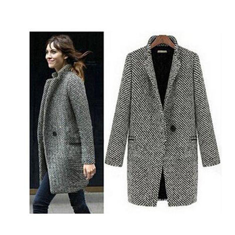Livraison gratuite élégant femmes hiver laine manteaux plus la taille gris chaud coton tranchée laides velours épais veste long manteau