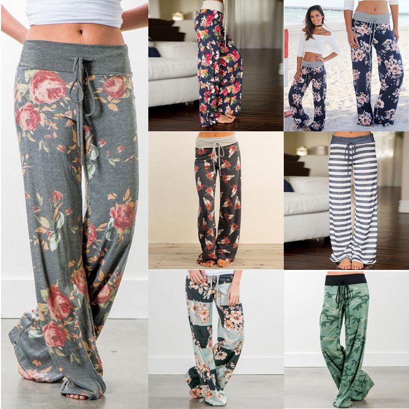 Printemps automne femmes pantalons longs lâche imprimé Floral cordon dentelle Camouflage rayure vague point pantalons de survêtement femme grande taille pantalon