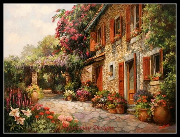 Needlework for embroidery DIY French DMC High Quality - Counted Cross Stitch Kits 14 ct Oil painting - Enchanted Cottage