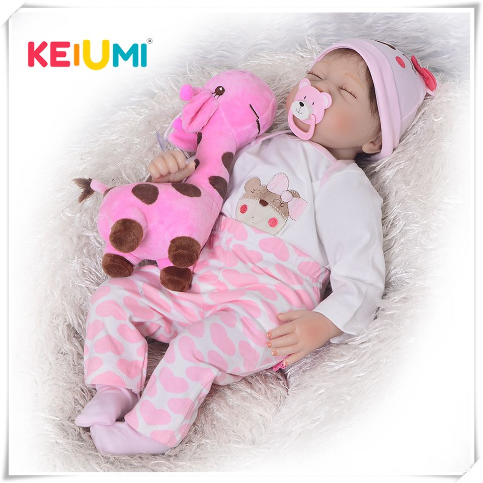 2018 Hot Sale Newborn Doll Realistic Rooted Mohair Bebe Reborn Doll 22 Inch Soft Silicone Vinyl Baby Toy For Girl XMAS Gifts
