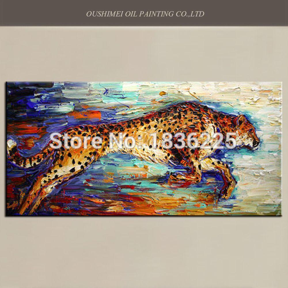 Высокое качество ручной росписью Ножи сильный бык Картины Бег Leopard картина маслом лошадь Животные для декора комнаты картина ручной работы