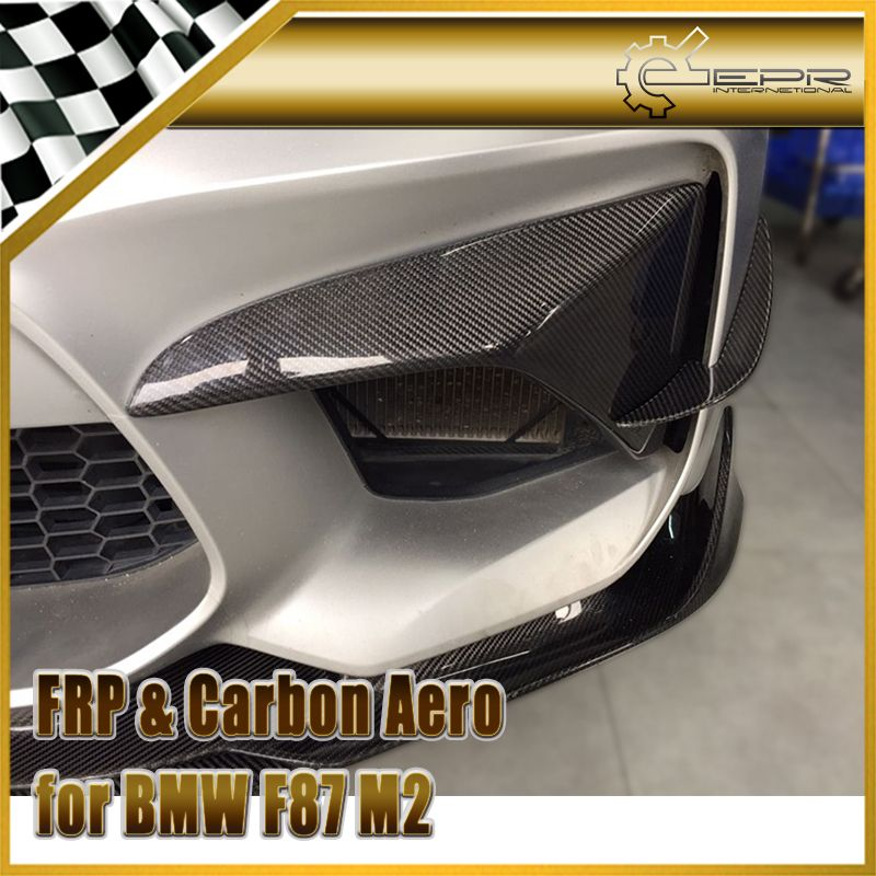 Car-styling Carbon Fiber A-Style Front Bumper Canard (For Real M2) Fibre Trim Accessories Fit For BMW F87 M2