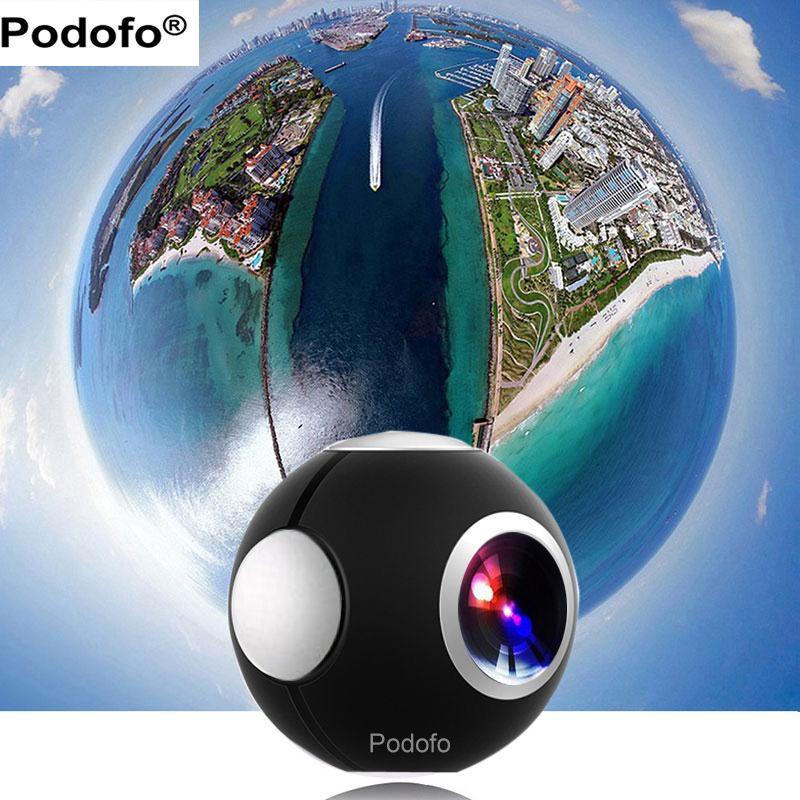 Podofo 360 Cámara Panorámica Mini Cámara 360 HD de Doble Lente de Ancho Ojo de pez Cámara de Vídeo VR para Android Cámara de Acción Deporte TypeC