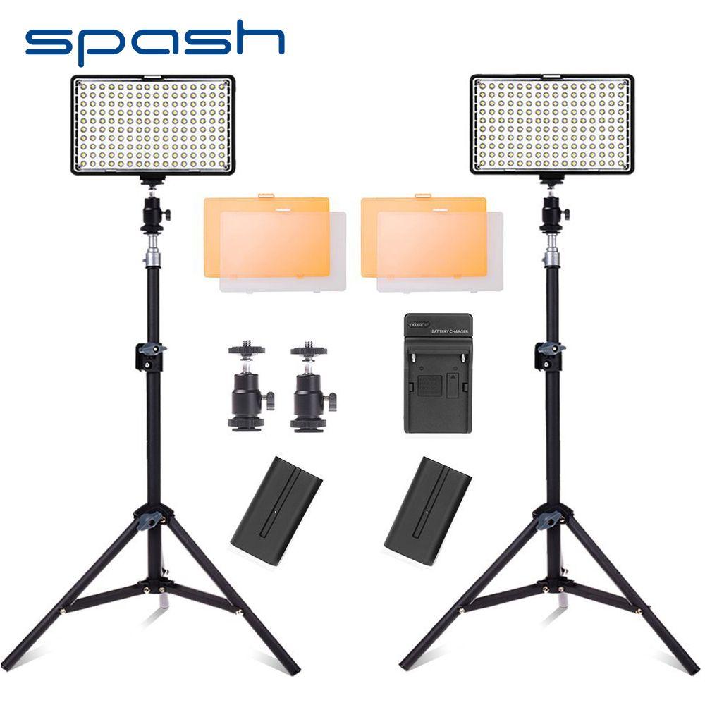 spash 160 LED Video Light Studio Lighting Lamp 2 in 1 Kit Dimmable 3200K-5600K Professional Photographic Lighting Set TL-160S