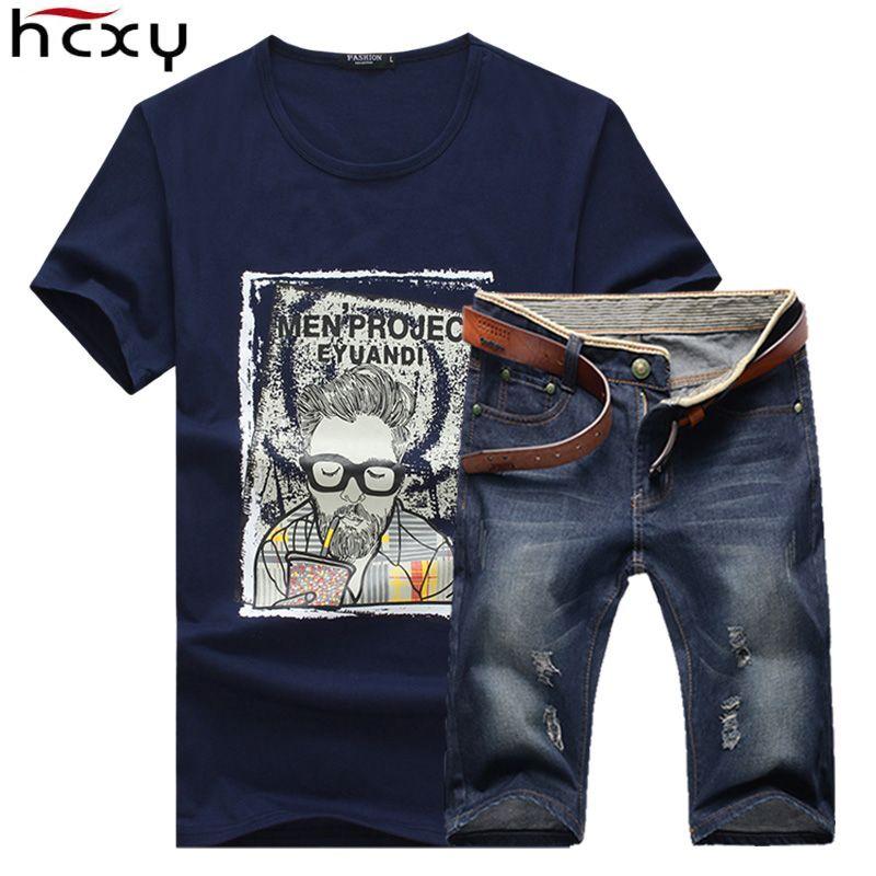 Новинка 2017 года летние джинсовые Шорты брендовая одежда Футболки для девочек и Шорты Для мужчин (Футболки-топы + Шорты) Homme спортивной 2 шт. на...