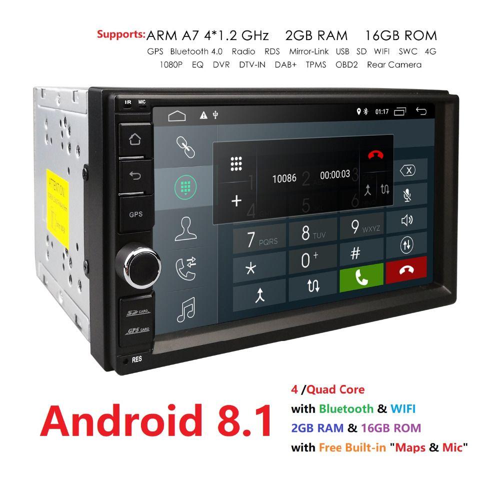 2G RAM Android 8.1 Auto Radio Quad Core 7 pouces 2DIN voiture universelle pas de lecteur DVD GPS stéréo Audio tête unité Support DAB DVR OBD BT