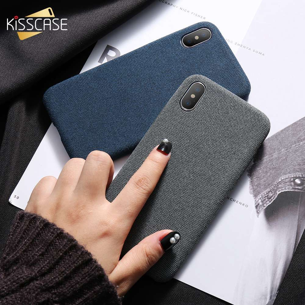 KISSCASE Cloth Patterned Case For iPhone X 10 Simple Vintage Business Case For iPhone X 6S 7 8 Plus Capinhas Ultra Slim Fashion
