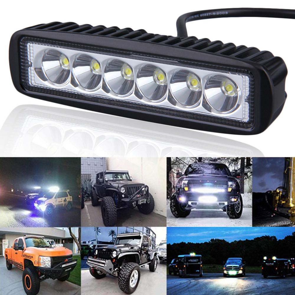 1 Pair 6 inch 18W LED Light Bar Motorcycle LED Bar Offroad 4x4 ATV Daytime Running Lights Truck Tractor Warning Work Light