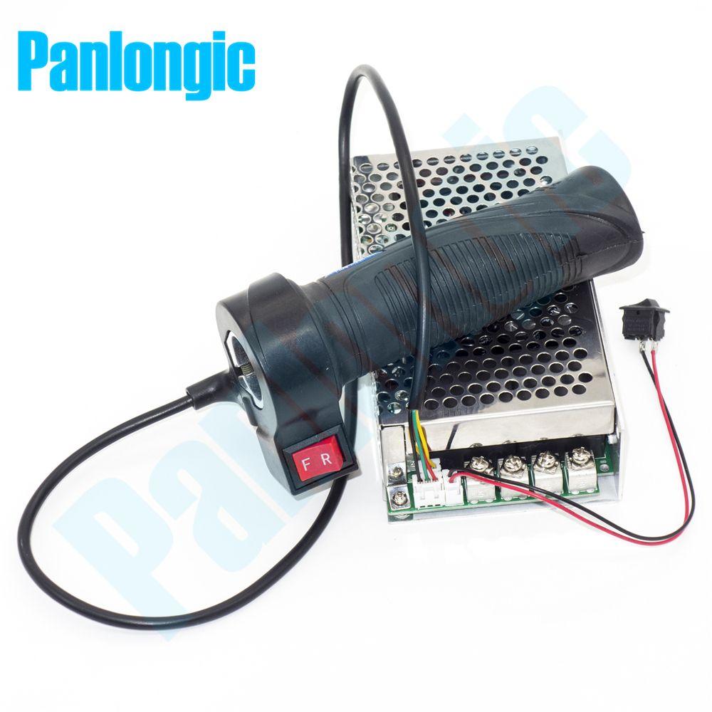 Panlongic Hand Twist Grip Hall Throttle 100A 5000W Reversible PWM DC Motor Speed Controller 12V 24V 36V 48V Soft Start Brake