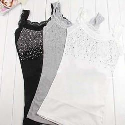 Women Rhinestone Sleeveless Lace Stunning Vest Tank Top T-shirt Set HTY07