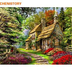 Chenistory безрамный Сельский пейзаж DIY картина по номерам Акриловая ручная роспись маслом для домашнего декора 40x50 см работа