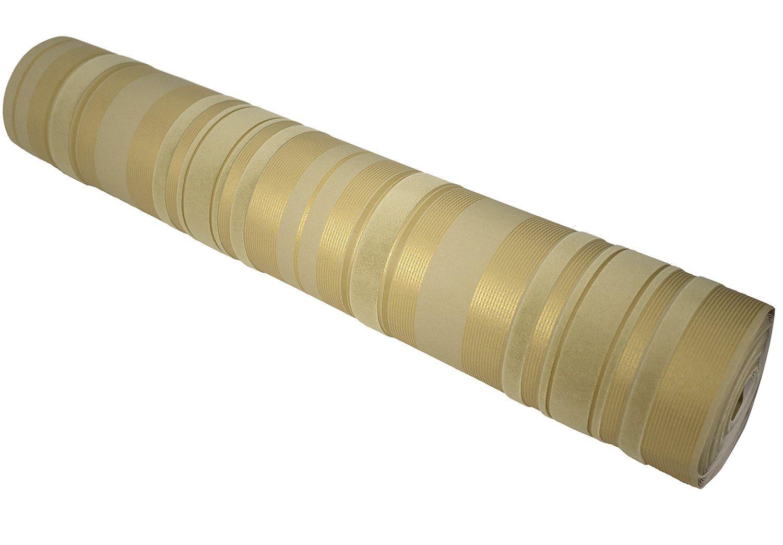 Luxury Champagne Gold Beige Velvet Flocking Vertical Stripes Wallpaper Wallcovering