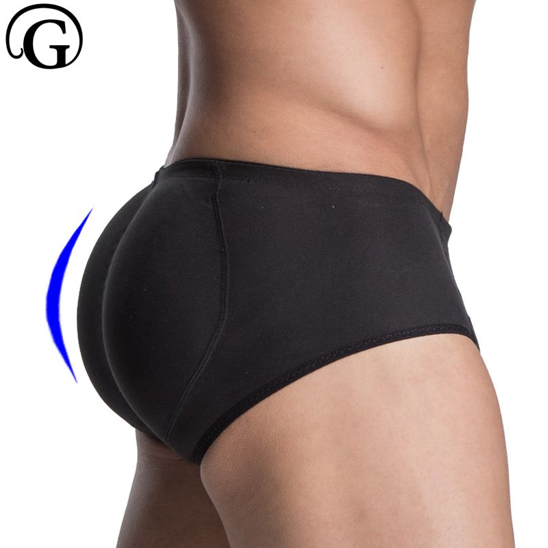 PRAYGER Men Sillicon Pads Butt Lifter Control Panties Removable Inserts Shaper Padded Enhancement Cotton Underwear