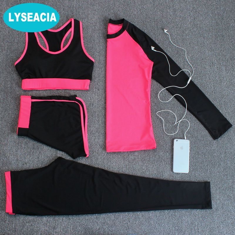 LYSEACIA 4 in 1 Sport Costumes for women Yoga suit Sports bra Long sleeve t shirt Running Sport Legging Pants Quick dry Yoga Set