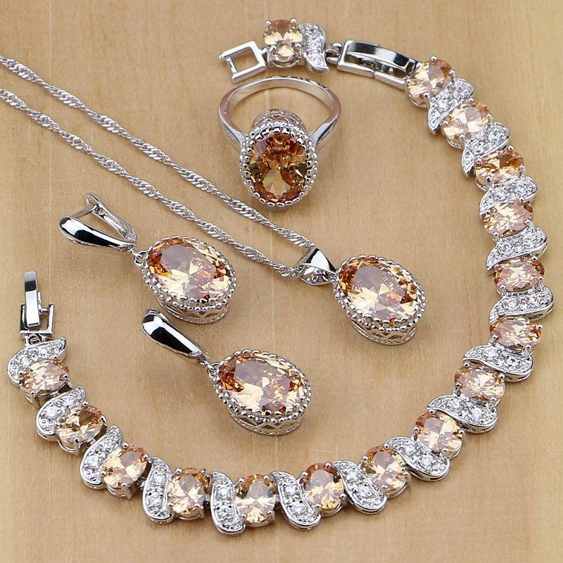925 En Argent Sterling Bijoux De Mariée Champagne Zircon Ensembles de Bijoux Pour Femmes Boucles D'oreilles/Pendentif/Collier/Anneaux/Bracelet