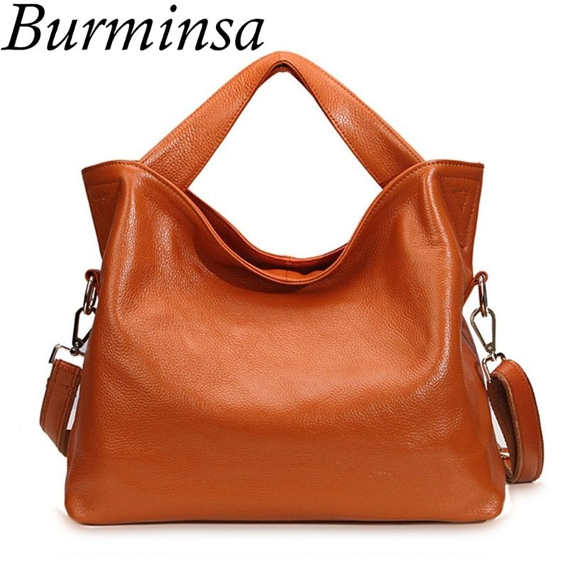 Burminsa Guaranteed 100% Genuine Leather Bags Designer Brand Handbags High Quality Tote Shoulder Bags Women Messenger Bags 2017