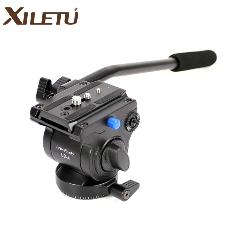 XILETU LS-4 Handgrip Video <font><b>Photography</b></font> Fluid Drag Hydraulic Tripod Head and Quick Release Plate For ARCA-SWISS Manfrotto