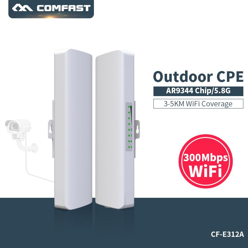 Comfast 300Mbps 5.8G wireless Outdoor Wifi Long range cpe 2*14dbi Antenna wi fi repeater router Access point bridge AP CF-E312A