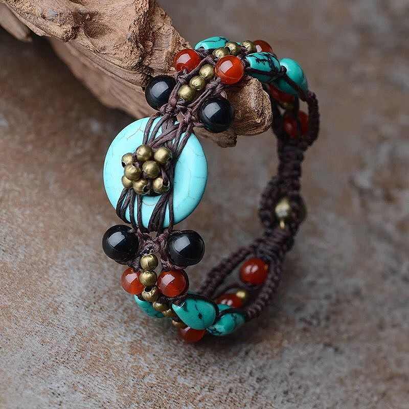 2017 fashion vintage ethnic femme Bracelet for women blue turkey stone copper and carnelian chain handmade jewelry wrap charm