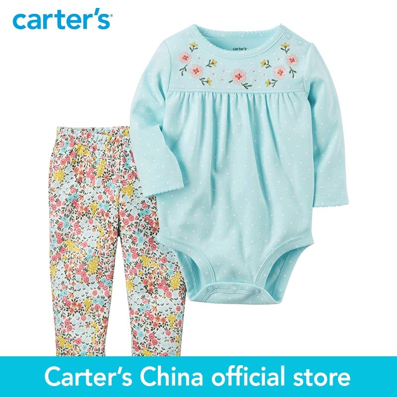 Carter's baby children kids clothing Girl Spring& Fall 2-Piece Bodysuit Pant Set blue fdot floral pant 121H704
