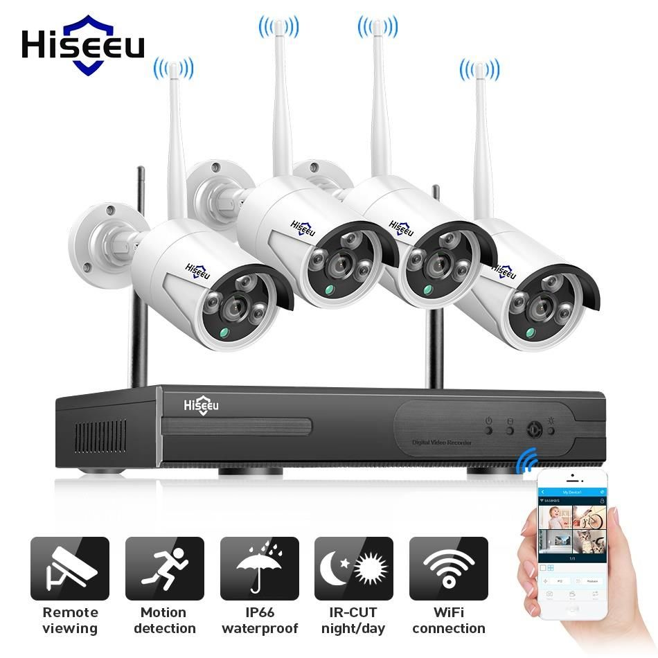 Hiseeu Wireless CCTV Camera Kit 1080P 4CH IP camera Outdoor H.265+ Video Surveillance P2P 1TB Waterproof IP66 E-mail Alert 3.6mm
