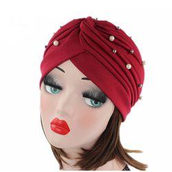 Liva fille Printemps Automne Belle Perles Dames Femmes Tête Chapeaux Indien Style Solide Couleur Cap Haute Qualité Chapeaux Musulmans F0323