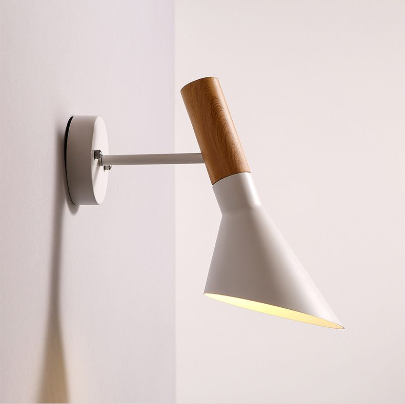 Swing Head Wall light Creative Wall Lamp Wooden Wall Sconce E27 Bedroom Lighting Black / White Bedside Reading Lamp WWL042