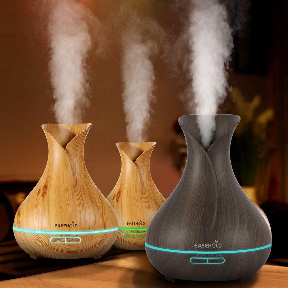 Humidificateur d'air ultrasonique de diffuseur d'huile essentielle d'arome de EASEHOLD 400 ml avec le Grain en bois arôme électrique léger de 7 LED à couleur changeante