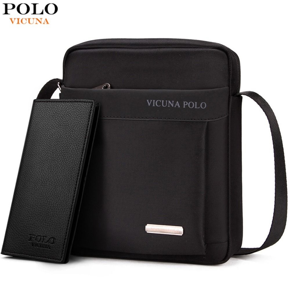VICUNA POLO Durable Oxford hommes sac à bandoulière Promotion décontracté hommes sacs à bandoulière noir/marron loisirs marque homme sac pour iPad