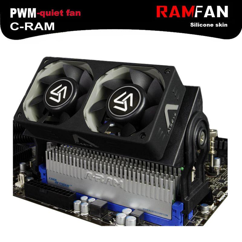 ALSEYE RAM refroidisseur ventilateur de refroidissement mémoire ram cooler avec double 60mm ventilateur PWM 1500-4000 RPM radiateur pour DDR2/3/4/5 de refroidissement