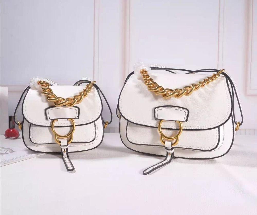 2017 hot sale original fashion brand design women genuine leather saddle bag real cowskin chain makeup shoulder messenger bag
