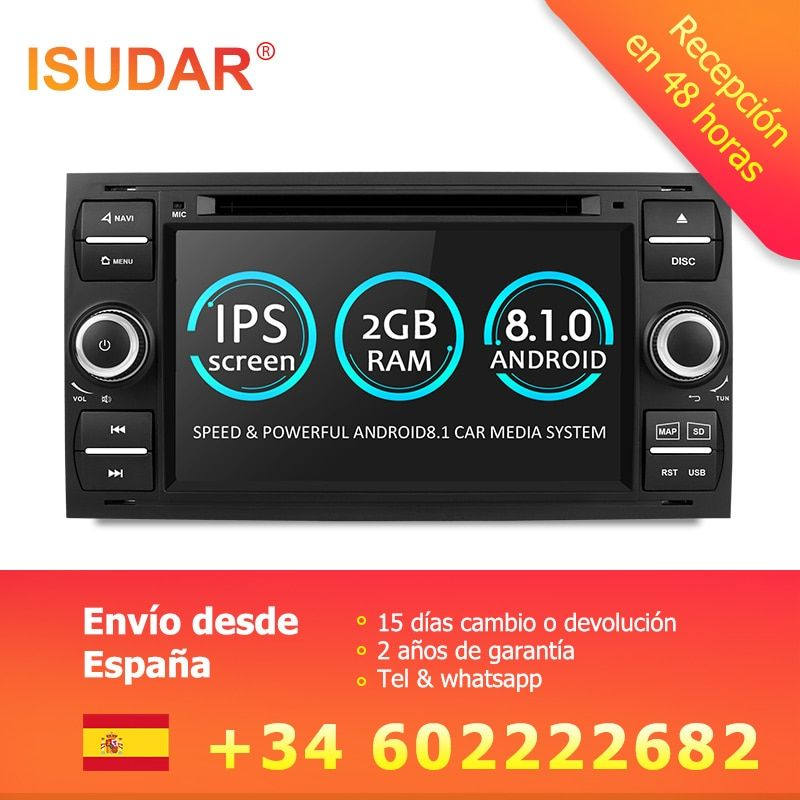 Isudar Car Multimedia Player Android 8.1 GPS Autoradio 2 Din 7 Inch For Ford/Mondeo/Focus/Transit/C-MAX/S-MAX/Fiesta 2GB RAM DVD