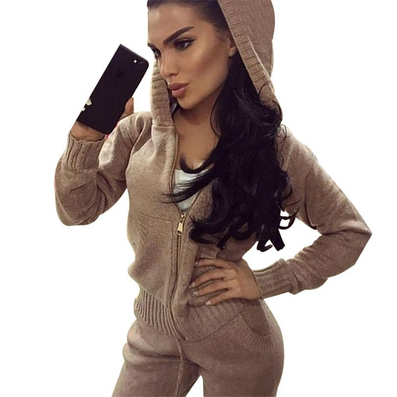 Tapakva pocket and zipper knitted wear knitting tracksuits 2 sets hooded sweater sportswear