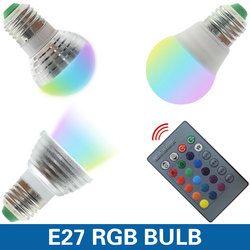 E27 E14 светодиодный 16 Цвет RGB Волшебная осветительная лампа 85-265 V 110 V 120 V 220 V RGB Светодиодный прожектор + ИК-пульт дистанционного управления Упра...