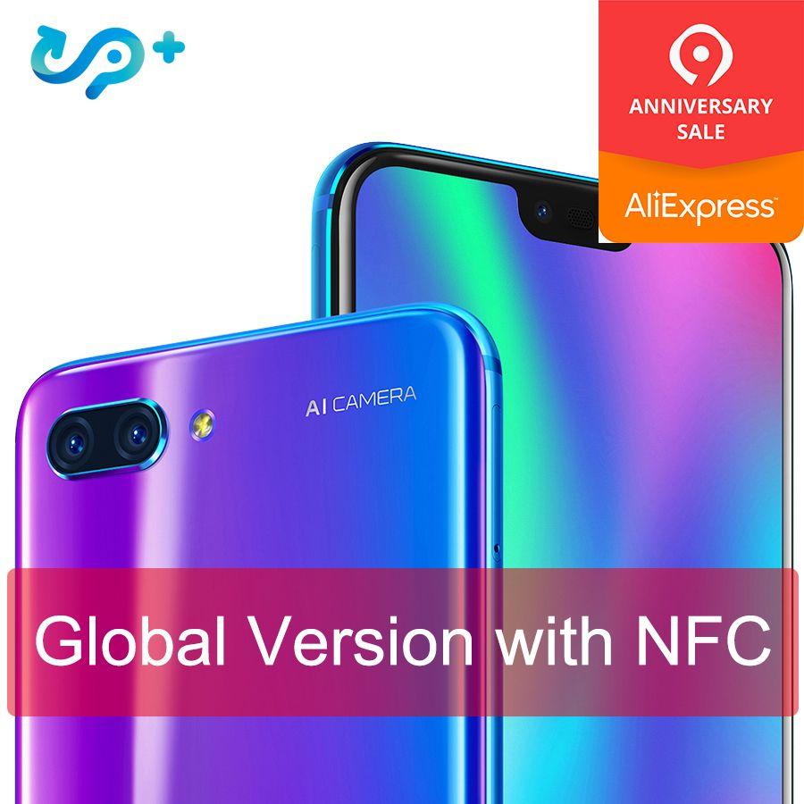 Ursprüngliche Globale version Ehre 10 4G 128G 4G LTE Smartphone 3D Gebogene Glas Kirin 970 AI Prozessor 5,8 inch Google spielen