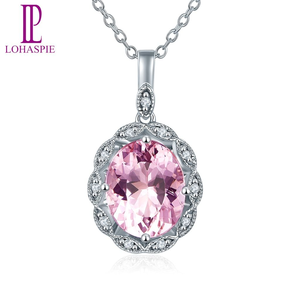 Lohaspie Diamond-Jewelry Solid 14K White Gold Natural Gemstone Morganite Pendant For Women For Birthday Gift W/ Silver Chain New
