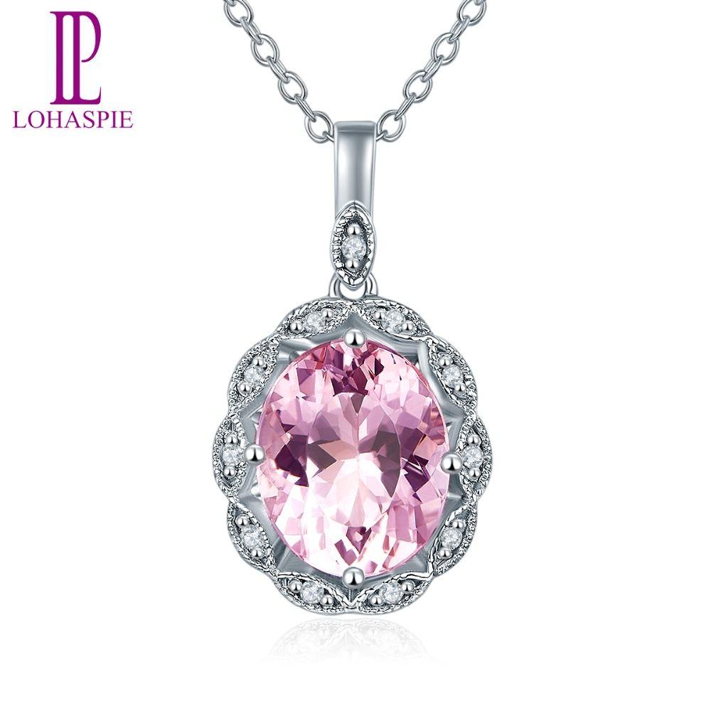 Lohaspie Diamond-Jewelry Solid 14K White Gold Natural Gemstone Morganite Pendant For Women For Birthday Gift W/ Silver Chain New