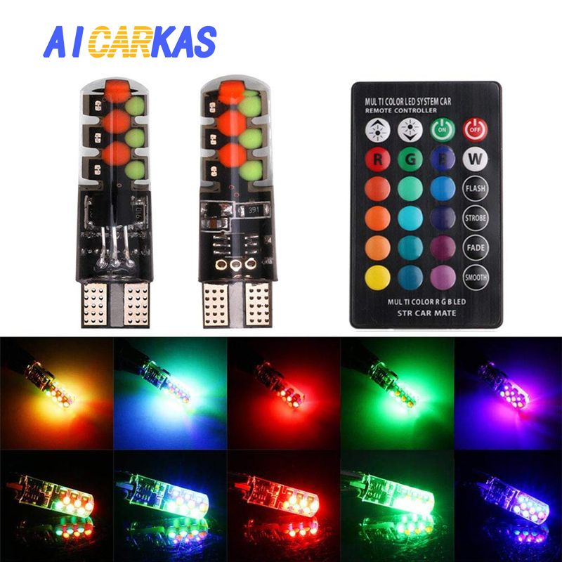AICARKAS 2 Pieces 12V T10 W5W LED Car LED Bulbs RGB With Remote Control 194 168 Interior Dome Reading Lights Side Marker Bulb