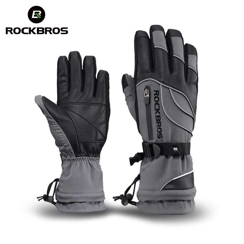 ROCKBROS водонепроницаемые лыжные перчатки-30 градусов ветрозащитный зимний сноуборд снегоход зимние мужские и женские спортивные тепловой лы...