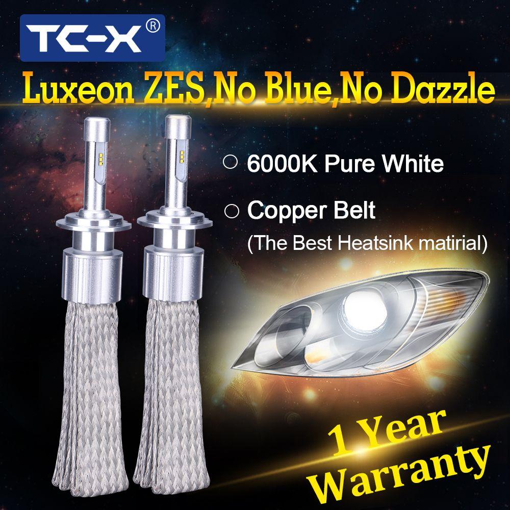 TC-X 2 PCS 7000LM/Set H1 H7 H3 H11 9005 9006 D2S D4S LED Headlights Copper Braiding HID Original Bulbs Replacement LED Car Light