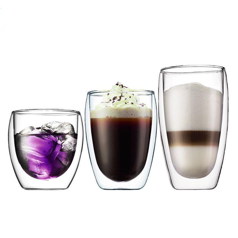 Lekoch 1 pièces tasse à café résistant à la chaleur Double paroi vin whisky boire verre tasse bière ensemble tasse thé Transparent boisson verre