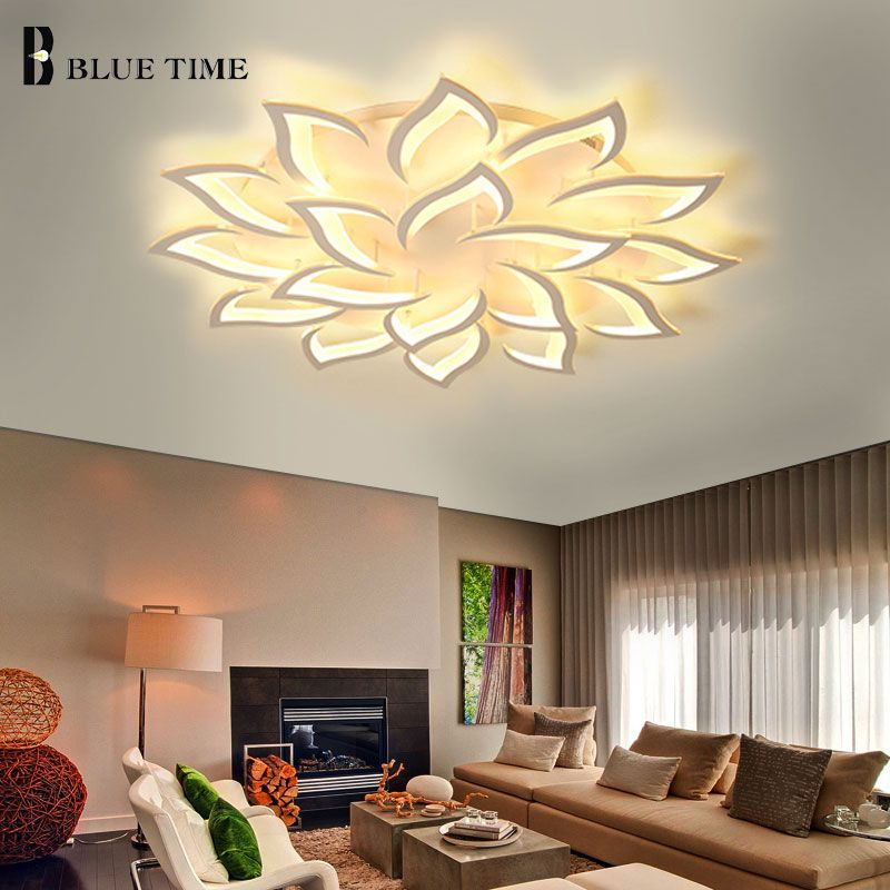 Simple Modern Led Chandelier Living room Bedroom Dining room Kitchen Fixtures White Acrylic Ceiling Mounted Chandelier Lightings