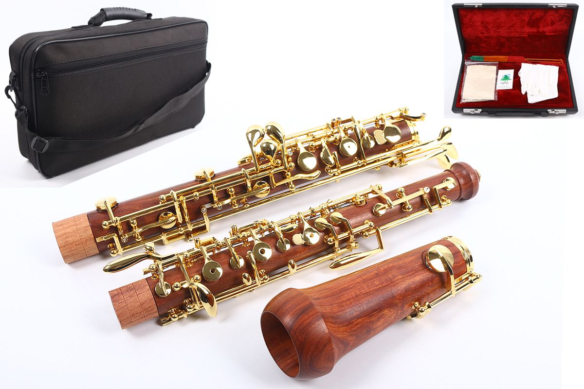 Professional Oboe C Key Left F Resonance Rosewood Body Golden Plated Key Professional Oboe Case #04