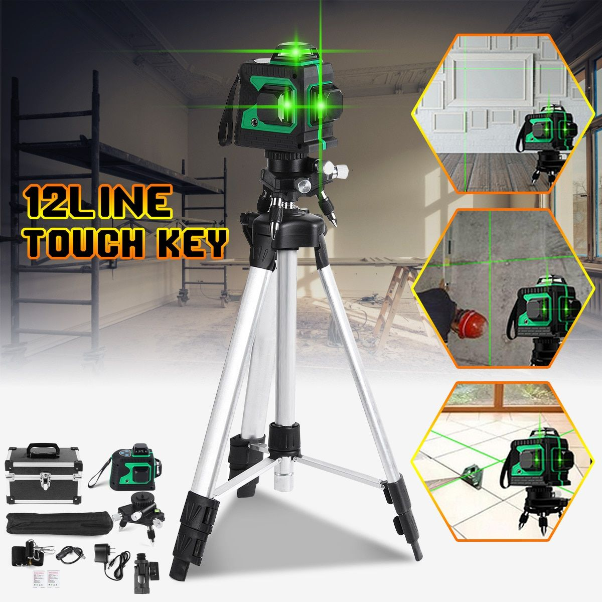 12 Line 3D Green Light Laser Level Self-Leveling Measure 360 Horizontal Vertical Cross Super Powerful Laser Beam w/Tripod Stand