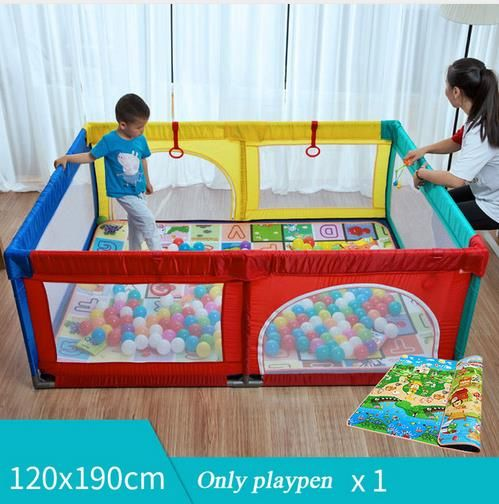 Foldable Baby Playpen Fence Steel Pipe Baby Climbing Play Fence Toddler Indoor Safety Play Pool Child Protection Fence 0~5 Years