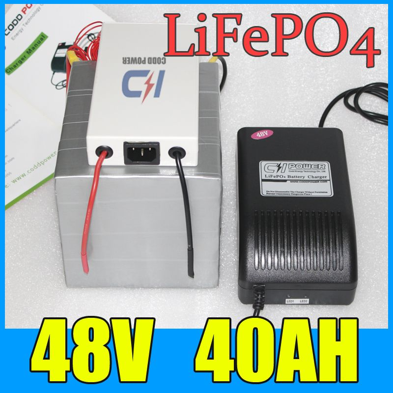 48V 40AH LiFePO4 Battery Pack ,2000W Electric bicycle Scooter lithium battery + BMS + Charger , Free Shipping
