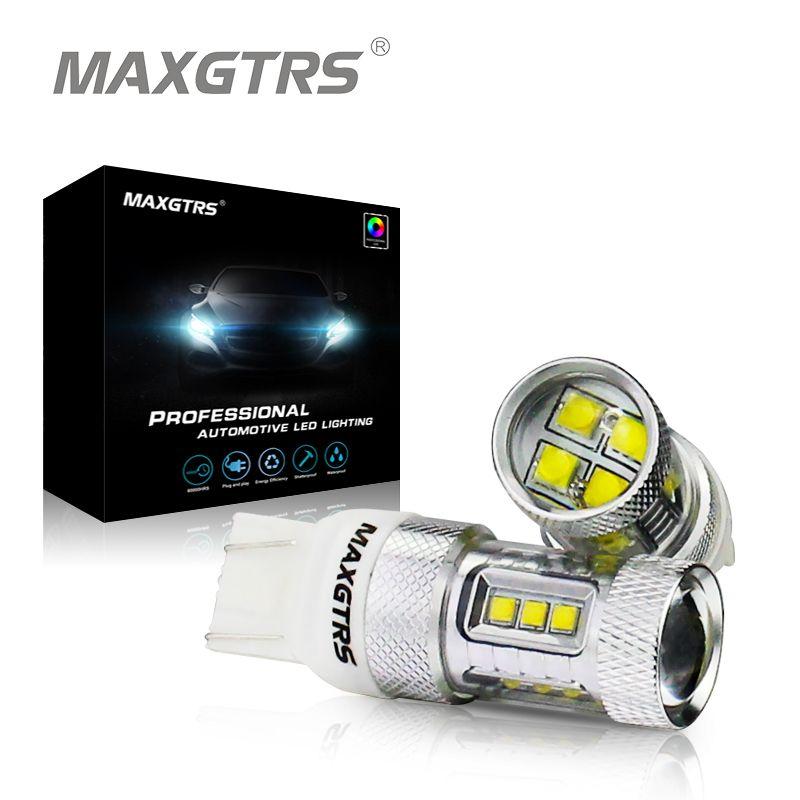 2x W21/5 W CREE Puce T20 7443 LED Ampoules De Voiture De Frein lumières Signal De Sauvegarde DRL Lumières DC12V 24 V Blanc/Rouge/Ambre 30 W 50 W 80 W