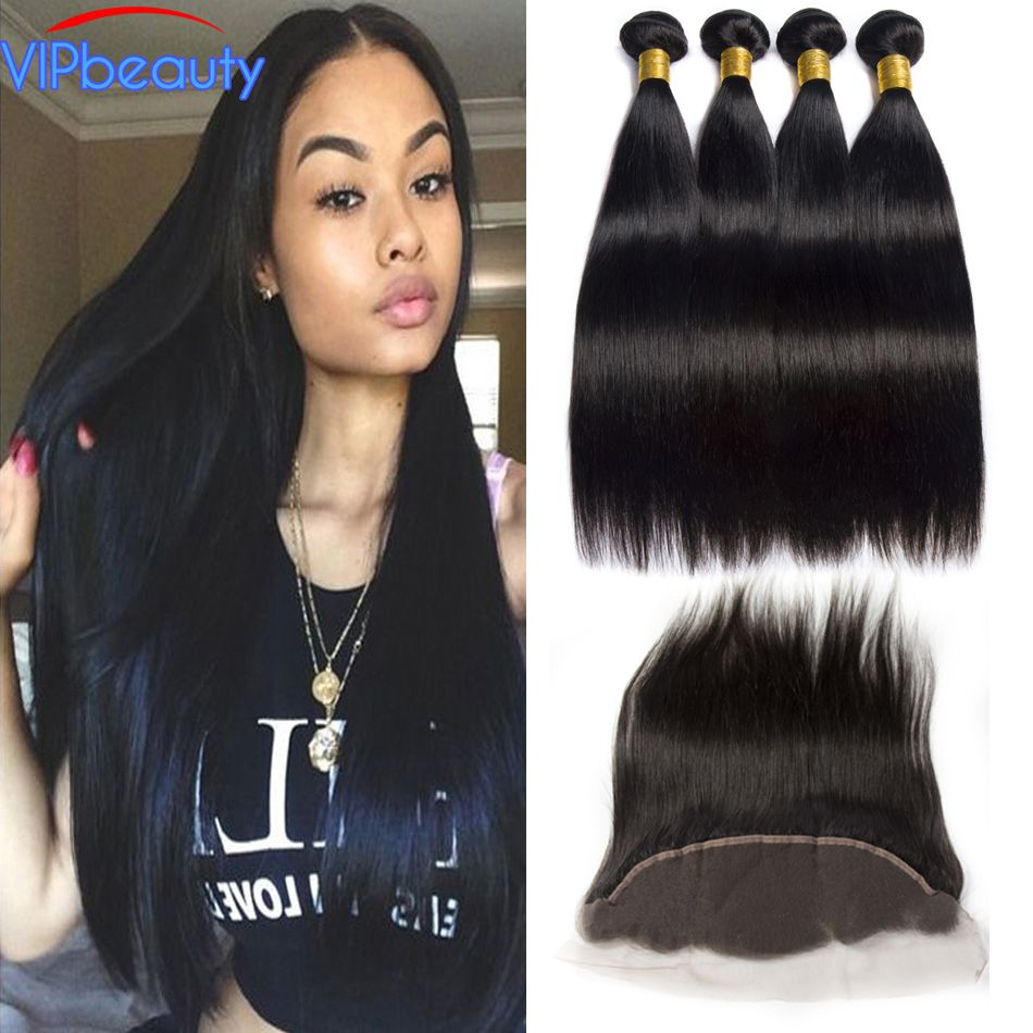 VIP Beauty Peruvian Straight Hair 3 Bundles Human Hair Bundles With Frontal Closure 13x4 Pre plucked Lace Frontal non remy hair