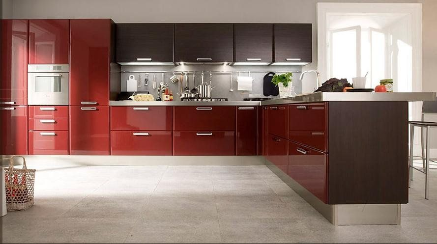 2017 customized high gloss red lacquer kitchen cabinets L1603004