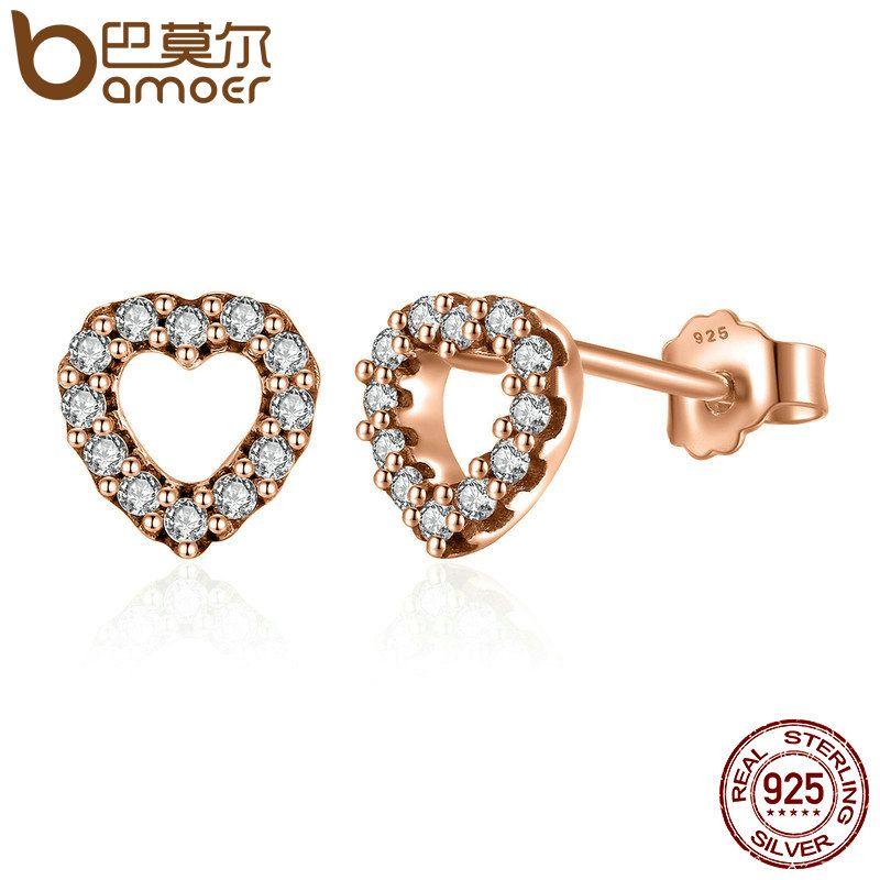 BAMOER 100% 925 Sterling Silber Erfasst Herzen, Rose & Clear CZ Weibliche Stud Ohrringe Modeschmuck PAS483